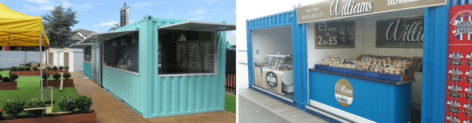 Examples of container food stalls made at Gap Containers