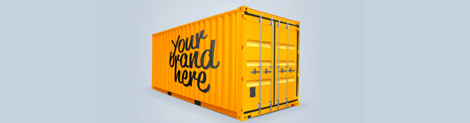 Example of shipping container advertising