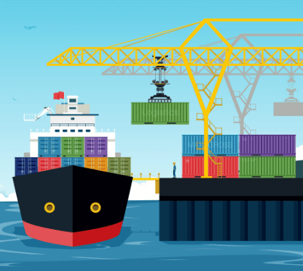 Graphic of shipping containers